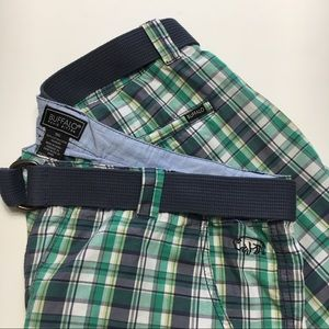 Buffalo David Bitton Plaid Shorts, Belt, Blue